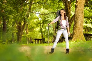 Active healthy woman hiking